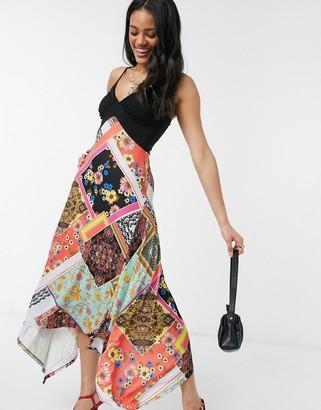 Lipsy midi dress with hanky hem in scarf print