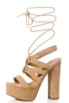 Quiz Taupe Faux Suede Lace Up Sandals