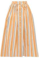Brock Collection Striped Crinkled Stretch-cotton Poplin Midi Skirt