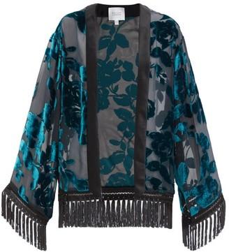 Galvan Winter Floral-devore Velvet Jacket - Dark Green