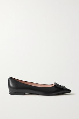 Roger Vivier Gommettine Buckled Leather Ballet Flats - Black