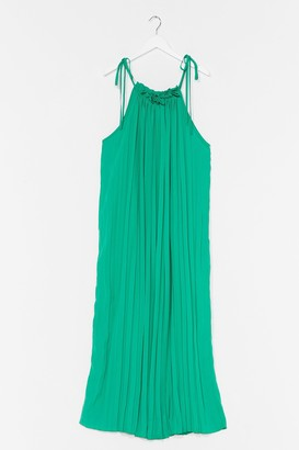Nasty Gal Womens Pleat of the Moment Tie Maxi Dress - Green