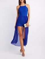 Charlotte Russe Halter Layered Maxi Romper