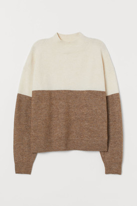 H&M Mock-turtleneck Sweater - Beige