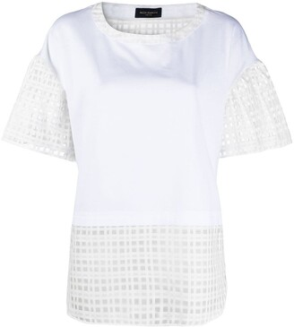 Piazza Sempione Panelled Semi-Sheer Blouse