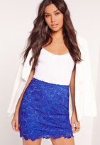 Missguided All Over Lace Mini Skirt Cobalt Blue