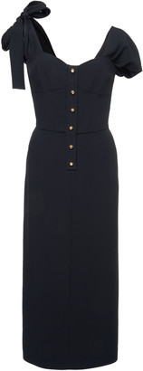 Prada Tie-Detailed Satin-Crepe Midi Dress