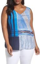 Nic+Zoe Plus Size Women's Plaid Silk Blend Tank