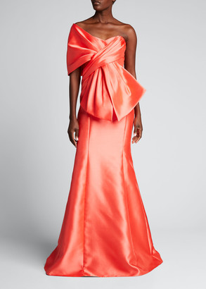 Badgley Mischka Wrap Top Trumpet Gown with Bow Detail