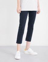 A Gold E Agolde Ladies Dark Navy Contrast Stitch Classic Riley Straight Cropped High-Rise Jeans