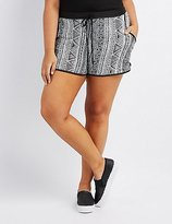 Charlotte Russe Plus Size Printed Drawstring Shorts
