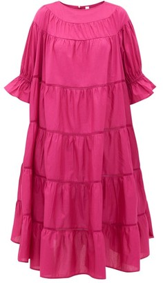 Merlette New York Paradis Tiered Cotton Sundress - Womens - Dark Pink