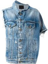 R 13 asymmetric denim jacket - women - Cotton/Spandex/Elastane - M
