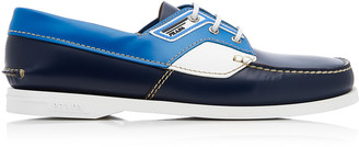 Prada Color-Blocked Leather Boat Shoes