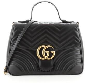 Gucci GG Marmont Top Handle Flap Bag Matelasse Leather Medium
