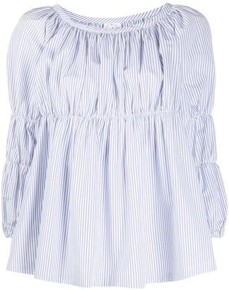 Comme des Garçons Comme des Garçons Cropped Sleeve Striped Print Blouse