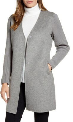 Kenneth Cole New York Knit Sleeve Double Face Wool Blend Coat