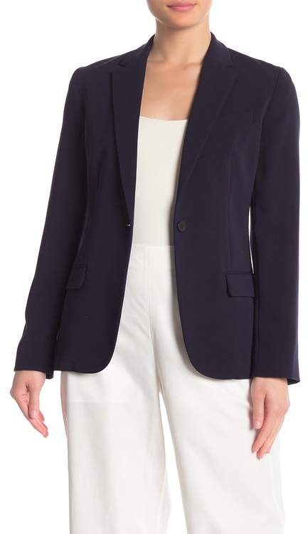 Theory Solid Notch Collar One Button Blazer