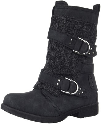Sugar Women's Jolla Womens Combat Boot with Wrap-Around Buckle Straps and Front Sweater Detail Boot Black Suede Sweater 6 Medium US