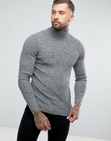 Asos Muscle Fit Ribbed Roll Neck In Black Twist