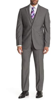 Perry Ellis Grey Herringbone Two-Button Notch Lapel Slim Fit 3-Piece Suit