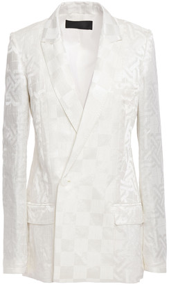 Haider Ackermann Linen And Silk-blend Satin-jacquard Blazer
