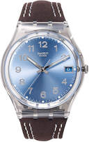 Swatch Watch, Unisex Swiss Blue Choco Brown Leather Strap 34mm GM415