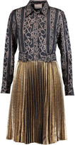 3.1 Phillip Lim Printed silk and pleated metallic lamé dress