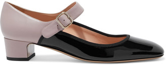 Valentino Two-tone Textured And Patent-leather Mary Jane Pumps