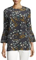 Lafayette 148 New York Sidra 3/4-Bell-Sleeve Moody Floral Silk Blouse, Plus Size