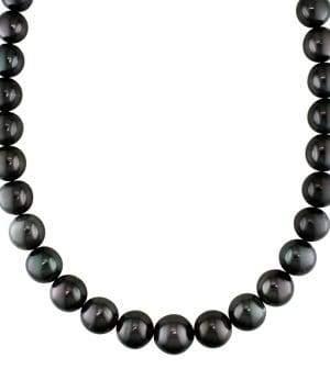 Sonatina 14K White Gold, Black Round Tahitian Pearl & Diamond Necklace