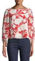 Club Monaco Valterra Floral-Print Long-Sleeve Blouse