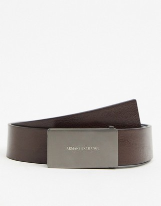 Armani Exchange plaque logo leather belt in brown