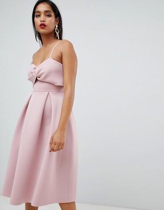 Asos Design DESIGN crop top midi prom dress with twist detail-Pink