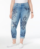 Melissa McCarthy Trendy Plus Size Embroidered Skinny Jeans