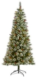 Nearly Natural Frosted Swiss Pine Artificial Christmas Tree with 400 Clear Led Lights and Berries