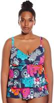 Penbrooke Women's Plus-Size Eastern Exotic Triple Tier Tankini Top