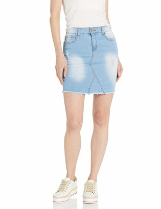 CG JEANS Denim Skirt for Juniors Ripped Distressed Fringe Hem Cute and Sexy