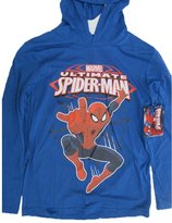 Spiderman Marvel Big Boys Royal Blue Print Hooded Shirt