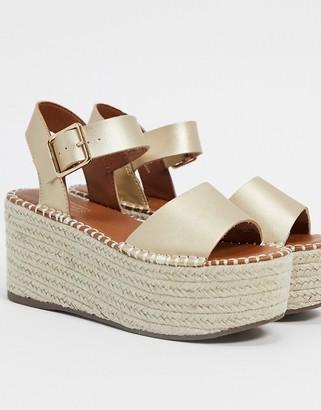 Topshop espadrille wedge sandal in gold