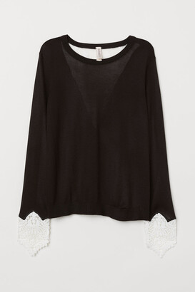 H&M Sweater with Lace Details - Black