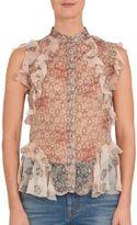 Alexander McQueen Ruffled Silk Floral-Print Blouse