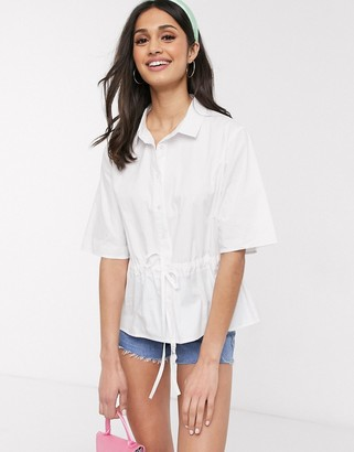 Daisy Street shirt with waist tie in cotton