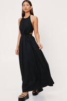 Thumbnail for your product : Nasty Gal Womens Poplin Halter Neck Cut Out Side Maxi Dress - Black - 8