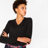 Paul Smith Women's Black Merino Wool V-Neck Sweater With Stripe Detail