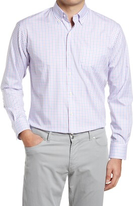 Peter Millar Crown Ease Royce Regular Fit Stretch Check Button-Down Shirt