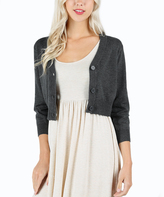 Charcoal V-Neck Bolero Cardigan - Plus