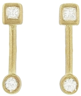 Tate Square and Circle Diamond Bar Stud Earrings