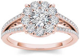 MODERN BRIDE 1 CT. T.W. Diamond Cluster 10K Rose Gold Engagement Ring