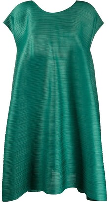 Pleats Please Issey Miyake back-drawstring pleated A-line dress